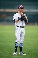 Princeton Rays second baseman Jake Palomaki (1) warms up before the second game of a doubleheader against the Greeneville Reds on July 25, 2018 at Hunnicutt Field in Princeton, West Virginia.  Greeneville defeated Princeton 8-7.  (Mike Janes/Four Seam Images)