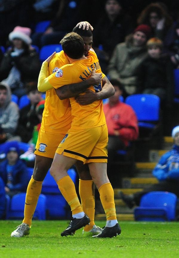 Preston North End&rsquo;s Jermaine Beckford, left, celebrates scoring his sides first goal with team-mate Neil Kilkenny<br /> <br /> Photographer Chris Vaughan/CameraSport<br /> <br /> Football - The Football League Sky Bet League One - Peterborough United v Preston North End - Saturday 20th December 2014 - ABAX Stadium - Peterborough<br /> <br /> &copy; CameraSport - 43 Linden Ave. Countesthorpe. Leicester. England. LE8 5PG - Tel: +44 (0) 116 277 4147 - admin@camerasport.com - www.camerasport.com