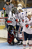 January 9th, 2009:  Mike Brodeur (29) of the Rochester Amerks is congratulated by Michael Caruso (2) after the game vs. the Syracuse Crunch at Blue Cross Arena in Rochester, NY.  Rochester defeated Syracuse 3-1 for their third straight win.  Photo Copyright Mike Janes Photography 2009