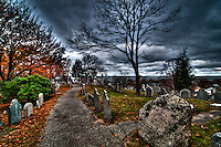 Quite a dramatic image of the Plymouth's cemetery under a very gloomy sky ready to unleash a strong Atlantic storm