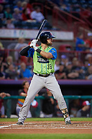 Las Ardillas Voladoras de Richmond Zach Houchins (39) at bat during an Eastern League game against the Erie Piñatas on August 28, 2019 at UPMC Park in Erie, Pennsylvania.  Richmond defeated Erie 4-3 in the second game of a doubleheader.  (Mike Janes/Four Seam Images)