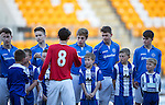 St Johnstone Academy v Manchester United Academy....17.04.15   <br /> The saints team lines up before kick off, Sean Struthers shakes hands with Callum Whelan<br /> Picture by Graeme Hart.<br /> Copyright Perthshire Picture Agency<br /> Tel: 01738 623350  Mobile: 07990 594431