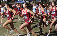 NWA Democrat-Gazette/DAVID GOTTSCHALK University of Arkansas women cross country team members leave the starting line Friday, November 15, 2019, at the NCAA South Regional at the Agri Park course in Fayetteville. The Razorback women won the overall team title.