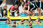 LOS ANGELES, CA - MAY 13: Head coach Jovan Vavic of the University of Southern California, center, speaks with players during the Division I Women's Water Polo Championship held at the Uytengsu Aquatics Center on the USC campus on May 13, 2018 in Los Angeles, California. USC defeated Stanford 5-4. (Photo by Tim Nwachukwu/NCAA Photos via Getty Images)
