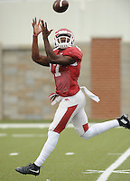 NWA Democrat-Gazette/ANDY SHUPE<br /> Arkansas receiver Jojo Robinson makes a catch Tuesday, Aug. 18, 2015, during practice at the university's practice field in Fayetteville.