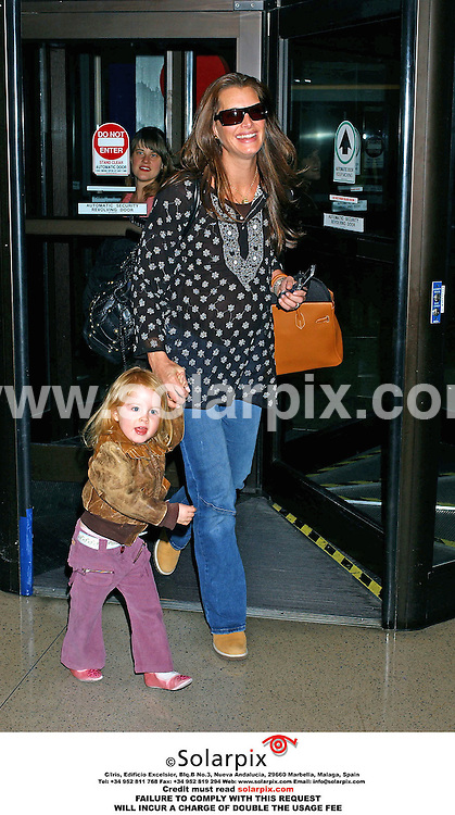 ALL ROUND PICTURES FROM SOLARPIX.COM..Chris Henchy meets his wife Brooke Shields and their daughter Rowan at Los Angeles airport.  Brooke flew in from New York to attend the 2006 Academy Awards.  Job Ref: 2163/GLS..MUST CREDIT SOLARPIX.COM OR DOUBLE FEE WILL BE CHARGED.