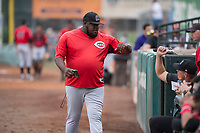 Billings Mustangs coach Chris Booker (55) before a Pioneer League game against the Ogden Raptors at Lindquist Field on August 17, 2018 in Ogden, Utah. The Billings Mustangs defeated the Ogden Raptors by a score of 6-3. (Zachary Lucy/Four Seam Images)