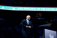 Washington, DC - March 26, 2017: Vice President Mike Pence addresses attendees of the AIPAC Policy Conference, March 26, 2017, at the Verizon Center in the District of Columbia. (Photo by Don Baxter/Media Images International)