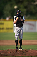 Grand Junction Rockies starting pitcher Ryan Rolison (24) looks in for the sign during a Pioneer League game against the Missoula Osprey at Ogren Park Allegiance Field on August 21, 2018 in Missoula, Montana. The Missoula Osprey defeated the Grand Junction Rockies by a score of 2-1. (Zachary Lucy/Four Seam Images)