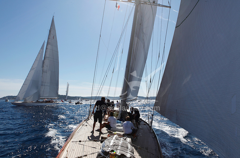 "Ranger and Shamrock V (JK3) during ""Les Voiles de Saint Tropez"", France."