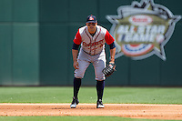 Gwinnett Braves first baseman Matt Tuiasosopo (5) on defense against the Charlotte Knights at BB&T BallPark on May 22, 2016 in Charlotte, North Carolina.  The Knights defeated the Braves 9-8 in 11 innings.  (Brian Westerholt/Four Seam Images)