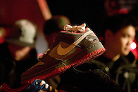 A Nike Dunk SB &quot;Pigeons&quot; sneaker stands on display at a sale price of $1600 during Dunkxchange, a market held in a club in New York City, USA, where sneaker collectors trade and sell their rare shoes, 7 January 2007. A riot broke out in front of the store when this model was first released in February 2005.<br />