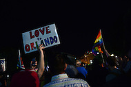 Washington, DC - June 12, 2016: Members of the LGBT community, friends and family hold signs during a vigil in front of the White House, June 12, 2016, to show support for the victims of the mass shooting at a club in Orlando, Florida. The shooting was the deadliest in U.S. history, with 50 fatalities and 53 casualties.  (Photo by Don Baxter/Media Images International)