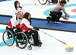 Pyeongchang, Korea, 12/march/2018-Marie Wright, Dennis Thiessen,  Ina Forrest compete in wheelchair curling during the 2018 Paralympic Games in PyeongChang. Photo Scott Grant/Canadian Paralympic Committee.