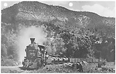 RGS #20 &amp; #455 preparing to head north out of Placerville with a 10-car freight.<br /> RGS  Placerville, CO  Taken by Moedinger, William - 7/13/1941