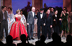 Derek Klena, Christy Altomare, Darko Trensnjak, Terrence McNally, Stephen Flaherty, Lynn Ahrens, Ramin Karimloo, Caroline O'Connor during Broadway Opening Night Performance Curtain Call bows for 'Anastasia' at the Broadhurst Theatre on April 24, 2017 in New York City.