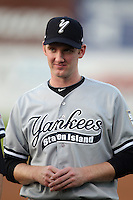 Staten Island Yankees pitcher John Brebbia #38 before game one of the NY-Penn League Championship Series against the Auburn Doubledays at Falcon Park on September 12, 2011 in Auburn, New York.  Staten Island defeated Auburn 9-2.  (Mike Janes/Four Seam Images)