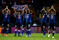 BOGOTÁ - COLOMBIA, 06-05-2018: Los jugadores de Millonarios, antes de partido de la fecha 19 entre Independiente Santa Fe y Millonarios, por la Liga Aguila I 2018, en el estadio Nemesio Camacho El Campin de la ciudad de Bogota. / The players of Millonarios, prior a match of the 19th date between Independiente Santa Fe and Millonarios, for the Liga Aguila I 2018 at the Nemesio Camacho El Campin Stadium in Bogota city, Photo: VizzorImage / Luis Ramírez / Staff.