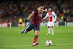 UEFA Champions League 2013/2014.<br /> FC Barcelona vs AFC Ajax: 4-0 - Game: 1.<br /> Xavi Hernandez.