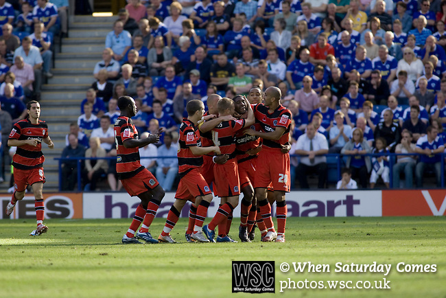 Leicester City 1 Queens Park Rangers 1, 15/09/2007. Walkers Stadium, Championship. Leicester City (blue) taking on Queen's Park Rangers in a Coca-Cola Championship match at the Walkers Stadium, Leicester. It was Gary Megson's first game in charge of the home team since his appointment two days earlier. The match ended one-all, QPR equalising in the last minute through Mikele Leigertwood after the Foxes had score through an Iain Hume penalty. Photo shows QPR players celebrating their last-minute goal. Photo by Colin McPherson.