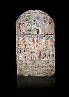 "Ancient Egyptian stele of s standard bearer Maienhekau, limestone, New Kingdom, 18th Dynasty, (1458-1425 BC), DAbydos,  Egyptian Museum, Turin. black background,<br /> <br /> In the top registerMaienhekau makes offerings to Ptah, Osiris and Horus. In the middle he is shown with his wife reveiving offerings from his 2 sons. In the lower register another son with 3 gaughters is offering a formula to Maienhekau, also listing his titles. He was standard bearer (captain) on several warships and the ""bearer of arms "" of Thutmosis II. The current depictions are over an earlier relief which can be seen in places where the later stucco has come away."
