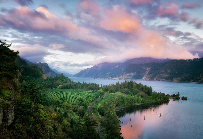 Columbia River sunrise. Near Hood River, Columbia River Gorge National Scenic Area. Oregon