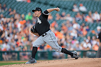 Chicago White Sox starting pitcher Derek Holland (45) delivers a pitch to the plate against the Detroit Tigers at Comerica Park on June 2, 2017 in Detroit, Michigan.  The Tigers defeated the White Sox 15-5.  (Brian Westerholt/Four Seam Images)