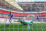 Will Puddy in the Bristol Rovers goal cannot prevent Grimsby Town from taking the lead during the 2015 Vanarama Conference Promotion Final match between Grimsby Town and Bristol Rovers at Wembley Stadium, London<br /> Picture by David Horn/eXtreme aperture photography +44 7545 970036<br /> 17/05/2015