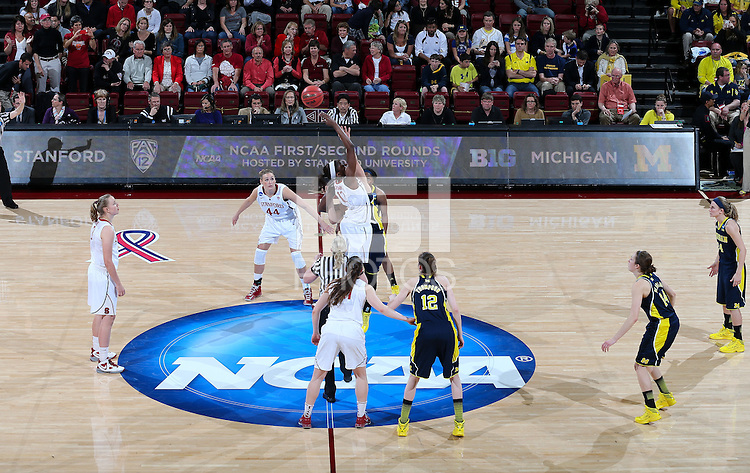 STANFORD, CA - March 26, 2013: Stanford Cardinal's Chiney Ogwumike in a second round game of the 2013 NCAA Division I Championship  versus Michigan at Maples Pavilion in Stanford, California.  The Cardinal defeated the Wolverines 73-40.