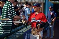 Fort Myers Miracle Royce Lewis (1) signs autographs before a Florida State League game against the Bradenton Marauders on April 23, 2019 at LECOM Park in Bradenton, Florida.  Fort Myers defeated Bradenton 2-1.  (Mike Janes/Four Seam Images)
