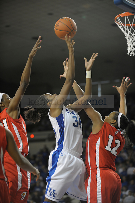 UK's Victoria Dunlap puts up the ball during the second half of the University of Kentucky Womens's basketball game against Georgia at Memorial Coliseum in Lexington, Ky., on 1/9/11. Uk lost the game 59-61. Photo by Mike Weaver | Staff