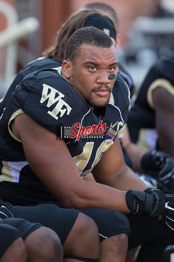 Brandon Chubb (48) of the Wake Forest Demon Deacons during first half action against the Army Black Knights at BB&T Field on September 20, 2014 in Winston-Salem, North Carolina.  The Demon Deacons defeated the Black Knights 24-21.  (Brian Westerholt/Sports On Film)