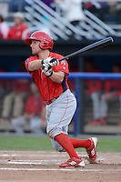 Williamsport Crosscutters catcher Chad Carman (6) during a game against the Batavia Muckdogs on September 4, 2013 at Dwyer Stadium in Batavia, New York.  Williamsport defeated Batavia 6-3 in both teams season finale.  (Mike Janes/Four Seam Images)