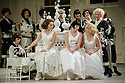 London UK. 19.11.2015. English National Opera presents THE MIKADO, by Arthur Sullivan & W. S. Gilbert, directed by Jonathan Miller, at the London Coliseum. Picture shows: Mary Bevan (Yum-Yum), Rachael Lloyd (Pitti-Sing), Fiona Canfield (Peep-Bo) and the company. Photograph © Jane Hobson.