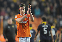 Blackpool's Ben Heneghan applauds the fans at the final whistle<br /> <br /> Photographer Kevin Barnes/CameraSport<br /> <br /> The EFL Sky Bet League One - Blackpool v Oxford United - Saturday 23rd February 2019 - Bloomfield Road - Blackpool<br /> <br /> World Copyright © 2019 CameraSport. All rights reserved. 43 Linden Ave. Countesthorpe. Leicester. England. LE8 5PG - Tel: +44 (0) 116 277 4147 - admin@camerasport.com - www.camerasport.com