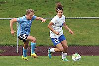 Piscataway, NJ, May 13, 2016. Boston Breakers midfielder Angela Salem (26) dribbles with Sky Blue midfielder Kelly Conheeney (24) in pursuit. Sky Blue FC defeated the Boston Breakers, 1-0, in a National Women's Soccer League (NWSL) match at Yurcak Field.