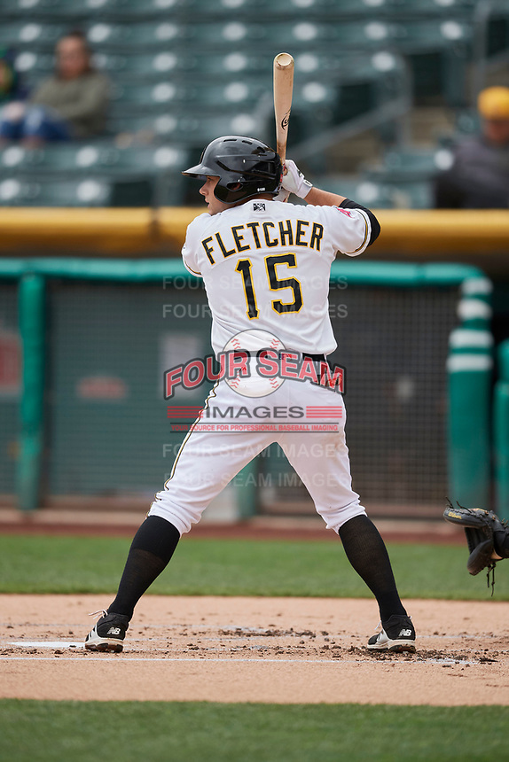 David Fletcher (15) of the Salt Lake Bees bats against the Albuquerque Isotopes at Smith's Ballpark on April 8, 2018 in Salt Lake City, Utah. Albuquerque defeated Salt Lake 11-4. (Stephen Smith/Four Seam Images)