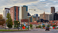View of buildings in downtown Denver, Colorado during a summer morning