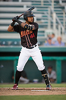 Modesto Nuts left fielder Gareth Morgan (44) at bat during a California League game against the Lake Elsinore Storm at John Thurman Field on May 11, 2018 in Modesto, California. Modesto defeated Lake Elsinore 3-1. (Zachary Lucy/Four Seam Images)