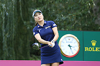 So Yeon Ryu (KOR) tees off the 9th tee during Thursday's Round 1 of The Evian Championship 2018, held at the Evian Resort Golf Club, Evian-les-Bains, France. 13th September 2018.<br /> Picture: Eoin Clarke | Golffile<br /> <br /> <br /> All photos usage must carry mandatory copyright credit (&copy; Golffile | Eoin Clarke)