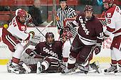Ryan Grimshaw (Harvard - 6), Spiro Goulakos (Colgate - 6), Rence Coassin (Harvard - 17), Matt Firman (Colgate - 15), Mike Seward (Harvard - 18) - The Harvard University Crimson defeated the visiting Colgate University Raiders 4-2 on Saturday, November 12, 2011, at Bright Hockey Center in Cambridge, Massachusetts.