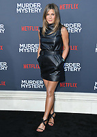 "10 June 2019 - Westwood, California - Jennifer Aniston. Netflix's ""Murder Mystery"" Los Angeles Premiere held at Regency Village Theater. Photo Credit: Birdie Thompson/AdMedia<br /> CAP/ADM/FS<br /> ©FS/ADM/Capital Pictures"