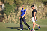 Friends of Shane Lowry (IRL) walking off the 17th green during the preview for the DP World Tour Championship at the Earth course,  Jumeirah Golf Estates in Dubai, UAE,  18/11/2015.<br /> Picture: Golffile | Thos Caffrey<br /> <br /> All photo usage must carry mandatory copyright credit (© Golffile | Thos Caffrey)
