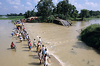 INDIA Bihar, Muzaffarpur, submergence at Bagmati river a branch of Ganga River due to climate change, heavy Monsoon flood and glacier melting / INDIEN Bihar, Ueberschwemmung durch Klimawandel, starke Monsun Regen und Gletscherschmelze am Bagmati Fluss ein Nebenfluss des Ganges