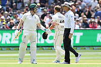 26th December 2019; Melbourne Cricket Ground, Melbourne, Victoria, Australia; International Test Cricket, Australia versus New Zealand, Test 2, Day 1; Steve Smith of Australia speaks to an umpire at the end of the session - Editorial Use