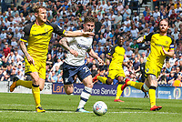 Preston North End's Sean Maguire vies for possession with Burton Albion's Kyle McFadzean<br /> <br /> Photographer Alex Dodd/CameraSport<br /> <br /> The EFL Sky Bet Championship - Preston North End v Burton Albion - Sunday 6th May 2018 - Deepdale Stadium - Preston<br /> <br /> World Copyright &copy; 2018 CameraSport. All rights reserved. 43 Linden Ave. Countesthorpe. Leicester. England. LE8 5PG - Tel: +44 (0) 116 277 4147 - admin@camerasport.com - www.camerasport.com