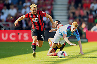 Jefferson Lerma of AFC Bournemouthfouls Kevin De Bruyne of Manchester City during AFC Bournemouth vs Manchester City, Premier League Football at the Vitality Stadium on 25th August 2019