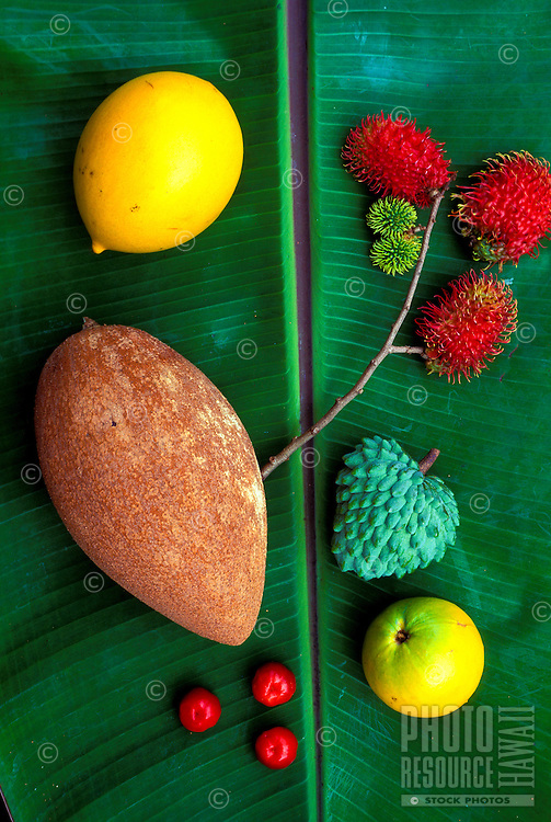 Exotic fruits (clockwise from top right): rambutan, atemoya, lilikoi, acerola (Surinam cherries), sapote, from Hula Brothers Inc., a Big Island tropical fruit grower