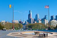 Philadelphia Museum of Art, Phila. PA,  USA, City Center View, Ben Franklin Parkway