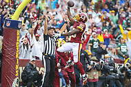 Landover, MD - September 23, 2018: Washington Redskins wide receiver Jamison Crowder (80) celebrates after scoring a touchdown during the  game between Green Bay Packers and Washington Redskins at FedEx Field in Landover, MD.   (Photo by Elliott Brown/Media Images International)